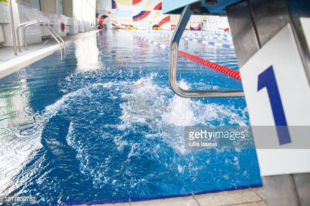 athlete diving in lap pool in sports club - スポーツ用語 ラップ ストックフォトと画像