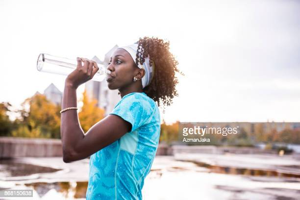 Athlete drinking water