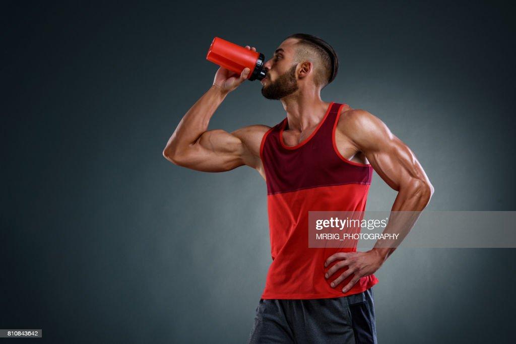 アスリート ドリンク蛋白質の飲み物 : ストックフォト