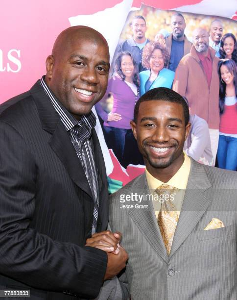 Athlete Earvin Magic Johnson and son Andre Johnson arrives at the This Christmas world premiere at the Cinerama Dome on November 12 2007 in Hollywood...