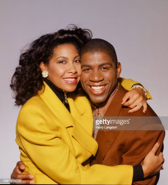 LOS ANGELES 1994 athlete Earvin Magic Johnson wife Cookie Johnson pose for a portrait in 1994 in Los Angeles California