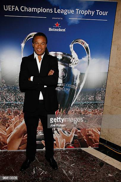 Athlete Edgar Davids attends the Heineken Brings UEFA Champions League Trophy to the US event at 230 Fifth Avenue on February 17, 2010 in New York...