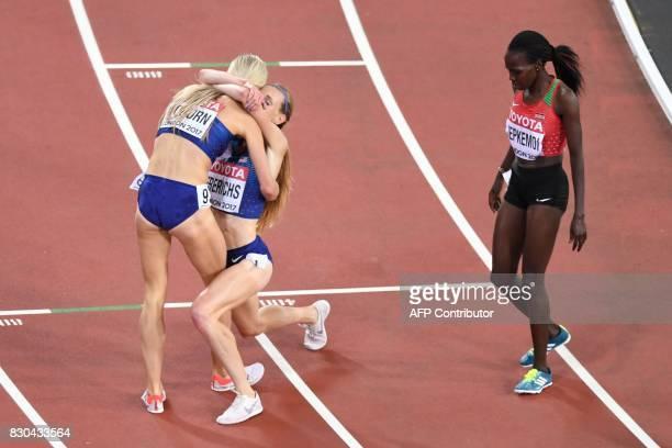 US athlete Emma Coburn celebrates with US athlete Courtney Frerichs as Kenya's Hyvin Kiyeng Jepkemoi looks on after the final of the women's 3000m...