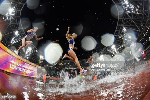 TOPSHOT US athlete Emma Coburn competes in the final of the women's 3000m steeplechase athletics event at the 2017 IAAF World Championships at the...