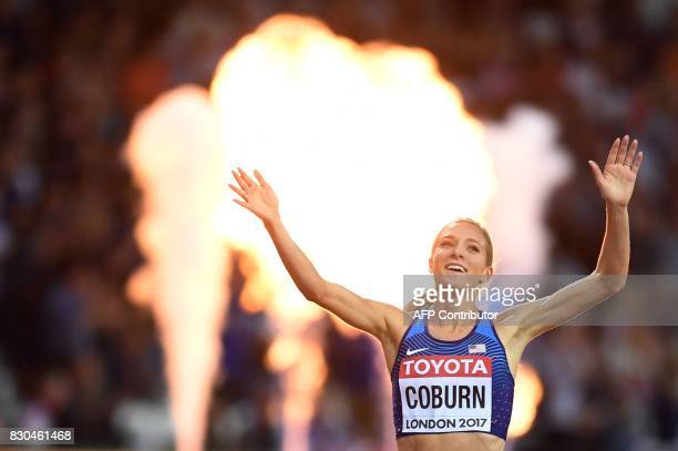 US athlete Emma Coburn wins the final of the women's 3000m steeplechase athletics event at the 2017 IAAF World Championships at the London Stadium in...