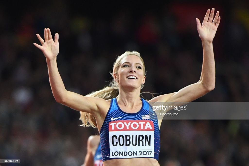US athlete Emma Coburn wins the final of the women's 3000m steeplechase athletics event at the 2017 IAAF World Championships at the London Stadium in London on August 11, 2017. / AFP PHOTO / Jewel SAMAD