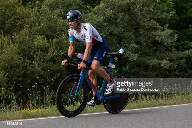 Athlete Eneko Llanos of Spain competes during the bike leg of Ironman Vitoria on July 14, 2019 near Vitoria, Spain.