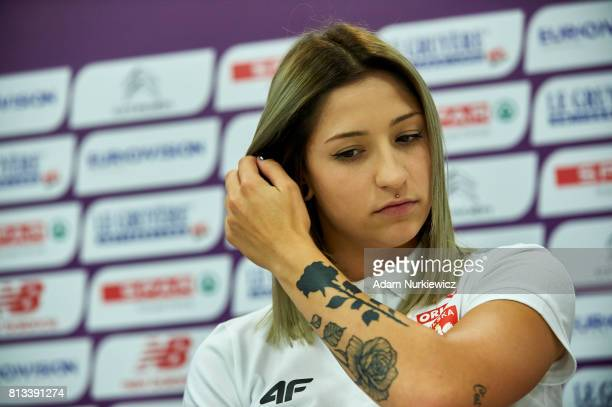 Athlete Ewa Swoboda from Poland attends in the press conference one day before European Athletics U23 Championships 2017 at Zawisza Stadium on July...