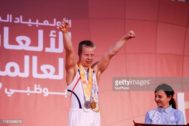 Athlete from Norway show their emotions when receiving their medals during declaration ceremony at the Special Olympics World Games in Abu Dhabi...