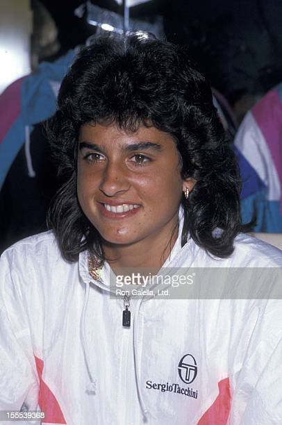 Athlete Gabriela Sabatini attends a press conference on August 28 1989 at Macy's in New York City