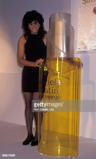 Athlete Gabriela Sabatini attends the press conference for Gabriela Sabatini The Scent of Victory Perfume on August 22 1991 at the Equitable Center...