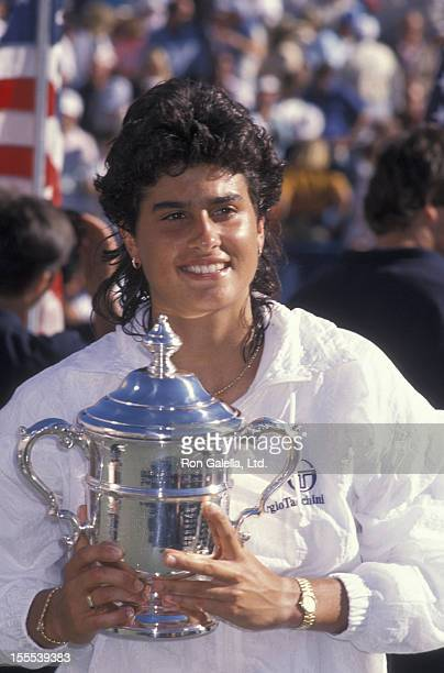 Athlete Gabriela Sabatini attends US Open Women's Tennis Finals on September 8 1990 at Flushing Meadows Park in New York City