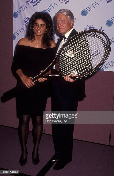 Athlete Gabriella Sabatini and Sargent Shriver attend 16th Annual Women's Tennis Association Awards Gala on August 31 1992 at the Marriott Marquis...