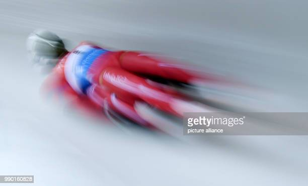 Athlete in action at the Luge World Cup in Koenigssee, Germany, 6 January 2018. Photo: Tobias Hase/dpa