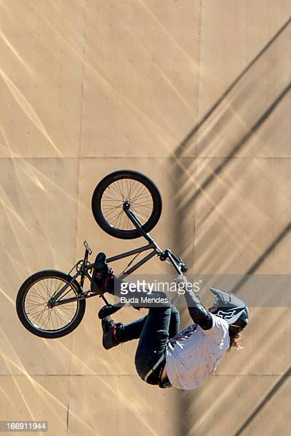Athlete in action during the BMX Freestyle Pratice at the XGames on April 18 2013 in Foz do Iguacu Brazil