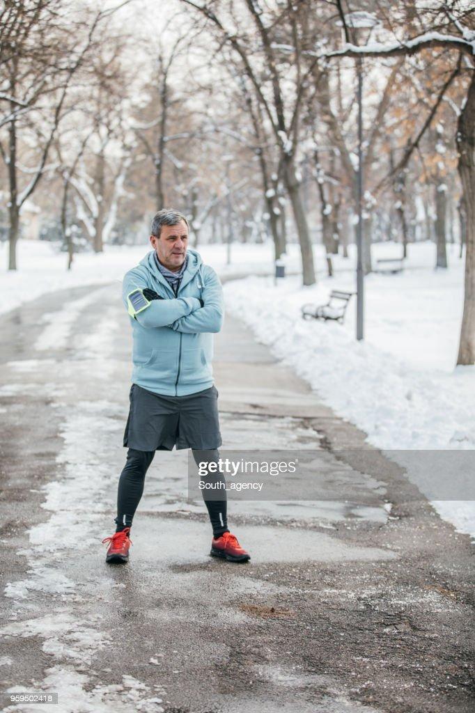 Athlete in public park : Stock Photo