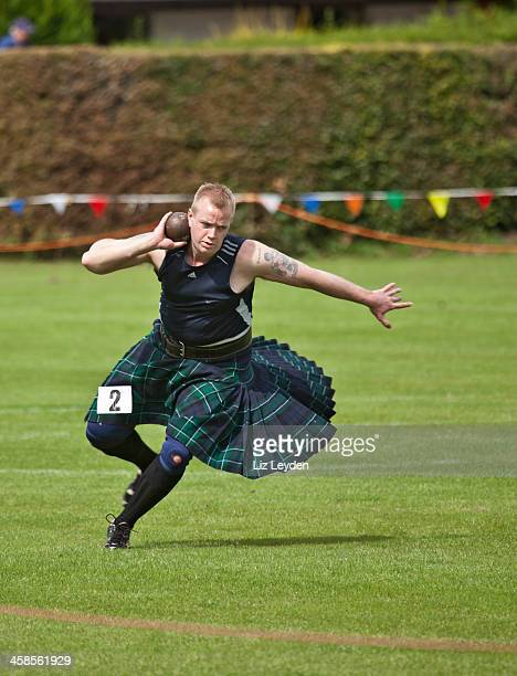 Athlete in the shot put competition, Brodick Highland Games