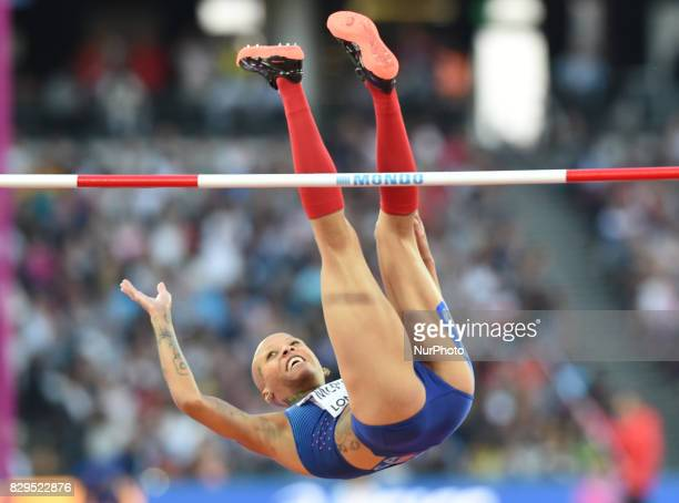 US athlete Inika Mcpherson competes during the women's high jump athletics event at the 2017 IAAF World Championships at the London Stadium in London...