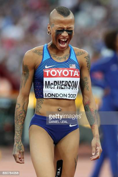 US athlete Inika Mcpherson reacts during the final of the women's high jump athletics event at the 2017 IAAF World Championships at the London...