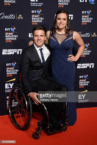 Athlete Jade Jones and guest pose on the red carpet at the BT Sport Industry Awards 2016 at Battersea Evolution on April 28 2016 in London England...