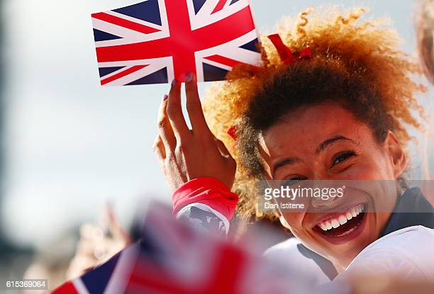 Athlete Jazmin Sawyers enjoys the atmosphere during the Olympics Paralympics Team GB Rio 2016 Victory Parade at Trafalgar Square on October 18 2016...
