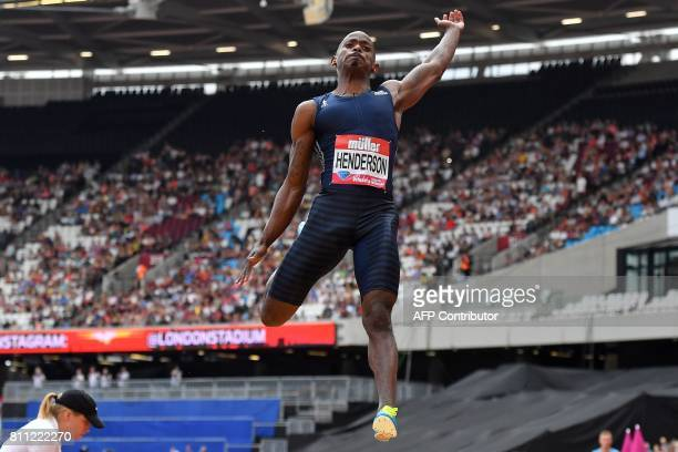 US athlete Jeff Henderson competes in the men's long jump during the IAAF Diamond League Anniversary Games athletics meeting at the Queen Elizabeth...