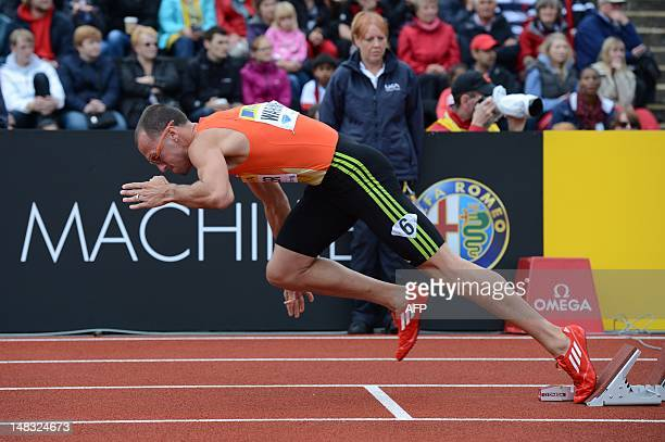 US athlete Jeremy Wariner rises from the blocks at the start of the men's 400m final on the second day of the 2012 Diamond League athletics meet at...
