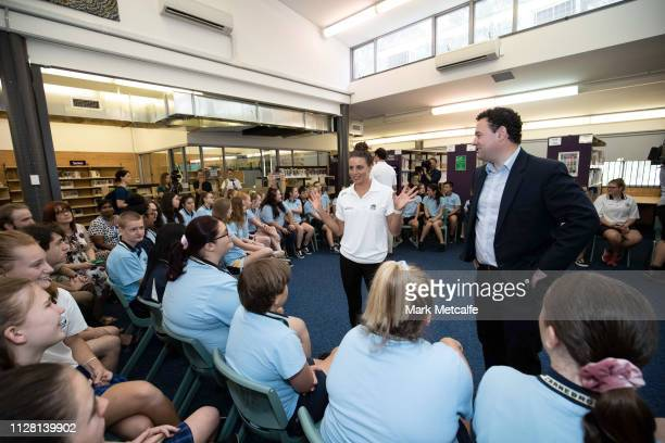Athlete Jess Fox talks to students during the Australian Olympic Committee and NSW Government Program Launch Event at Cranebrook High School on...