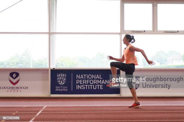 Athlete Jess Turner warms up on an indoor track at the British Athletics National Performance Institute on May 24 2018 in Loughborough England The...