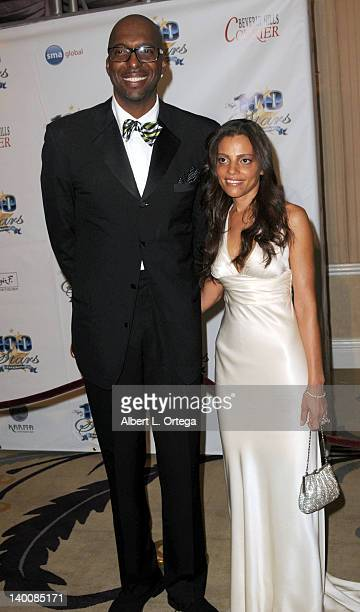 Athlete John Salley and wife Natasha Duffy arrive for Norby Walters' 22nd Annual Night Of 100 Stars Oscar Viewing Gala held at The Beverly Hills...