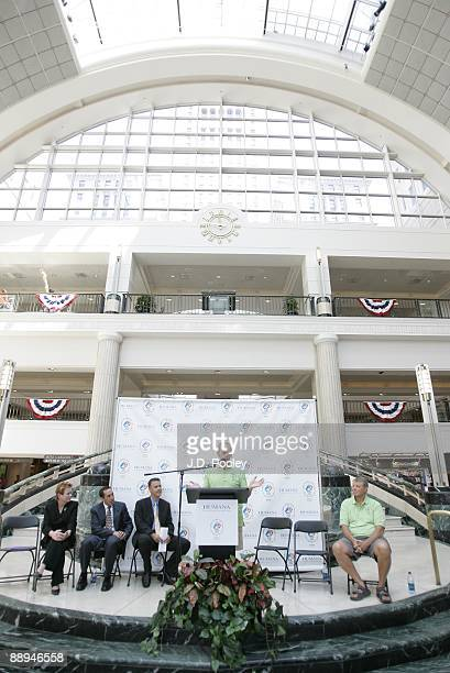 Athlete John Sanders speaks during the 2009 Humana & National Senior Games Athlete send-off tour at Tower City Center - Grand Staircase in Skyline...