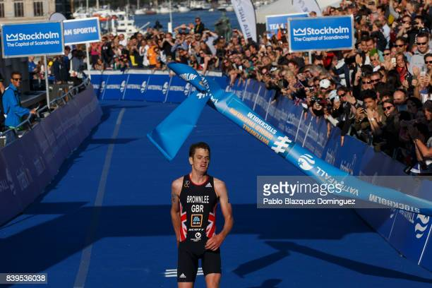 Athlete Jonathan Brownlee from Great Britain celebrates winning the men's Elite race of Vattenfall World Triathlon Stockholm on August 26 2017 in...