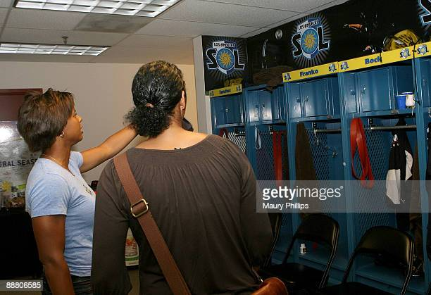 Athlete Karina LeBlanc and president of the FIFA Women's World Cup Organizing Committee Steffi Jones during Steffi Jones visit to the Los Angeles Sol...