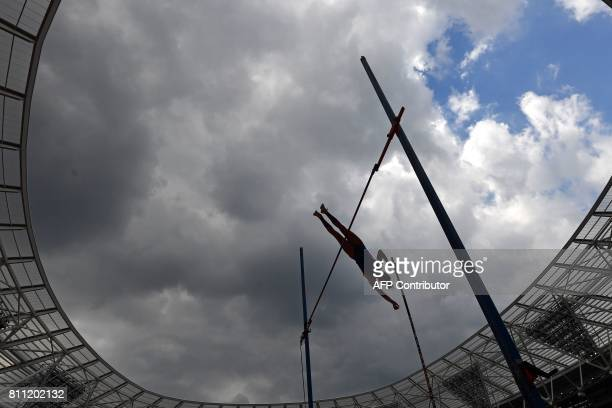 TOPSHOT US athlete Katie Nageotte makes an early clearance in the women's pole vault during the IAAF Diamond League Anniversary Games athletics...