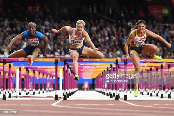 US athlete Kendra Harrison Norway's Isabelle Pedersen and Germany's Pamela Dutkiewicz compete in the semifinal of the women's 100m hurdles athletics...
