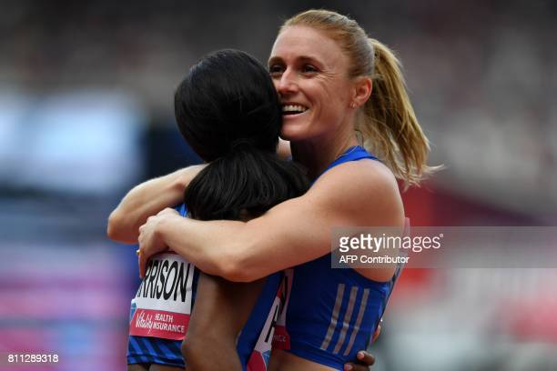 Athlete Kendra Harrison reacts after her victory over Australia's Sally Pearson in the women's 100m hurdles final during the IAAF Diamond League...
