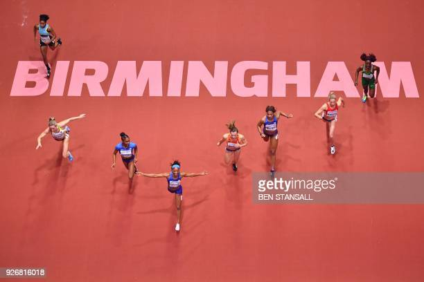 Athlete Kendra Harrison wins the women's 60m hurdles final at the 2018 IAAF World Indoor Athletics Championships at the Arena in Birmingham on March...