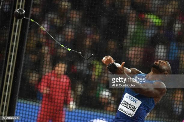 TOPSHOT US athlete Kibwe Johnson competes in the men's hammer throw athletics event at the 2017 IAAF World Championships at the London Stadium in...