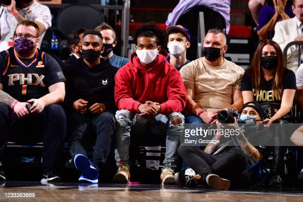 Athlete Kyler Murray of the Arizona Cardinals attends the game between the Denver Nuggets and the Phoenix Suns during Round 2, Game 2 of the 2021 NBA...