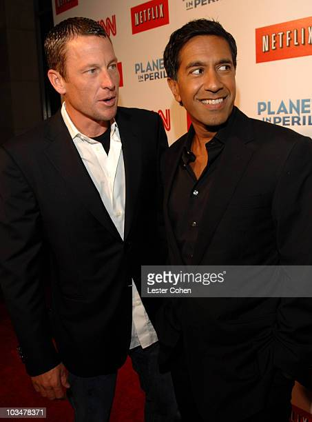 JPG Athlete Lance Armstrong and Dr Sanjay Gupta at the premiere of CNN's Planet in Peril at Grauman's Chinese Theatre on October 17 2007 in Hollywood...