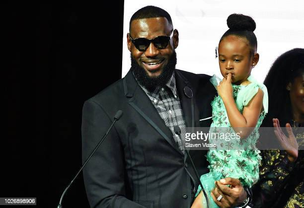Athlete LeBron James recepient of Icon 360 Award and daughter Zhuri James attend Harlem's Fashion Row during New York Fahion Week at Capitale on...
