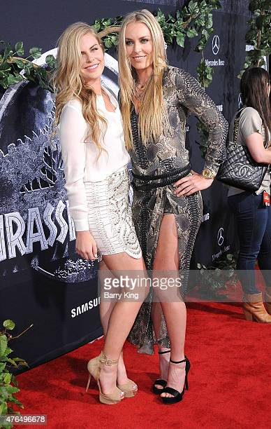 Athlete Lindsey Vonn and sister Karin Kildow arrive at Universal Pictures World Premiere of 'Jurassic World' at Dolby Theatre on June 9 2015 in...
