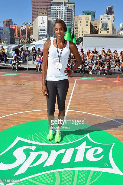 Athlete Lisa Leslie attends Sprite Court at the Fan Fest Outdoor during the 2013 BET Experience at LA LIVE on June 28 2013 in Los Angeles California