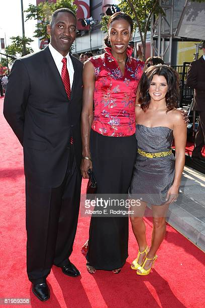 WNBA athlete Lisa Leslie husband Michael Lockwood and Danica Patrick arrives at the 2008 ESPY Awards held at NOKIA Theatre LA LIVE on July 16 2008 in...