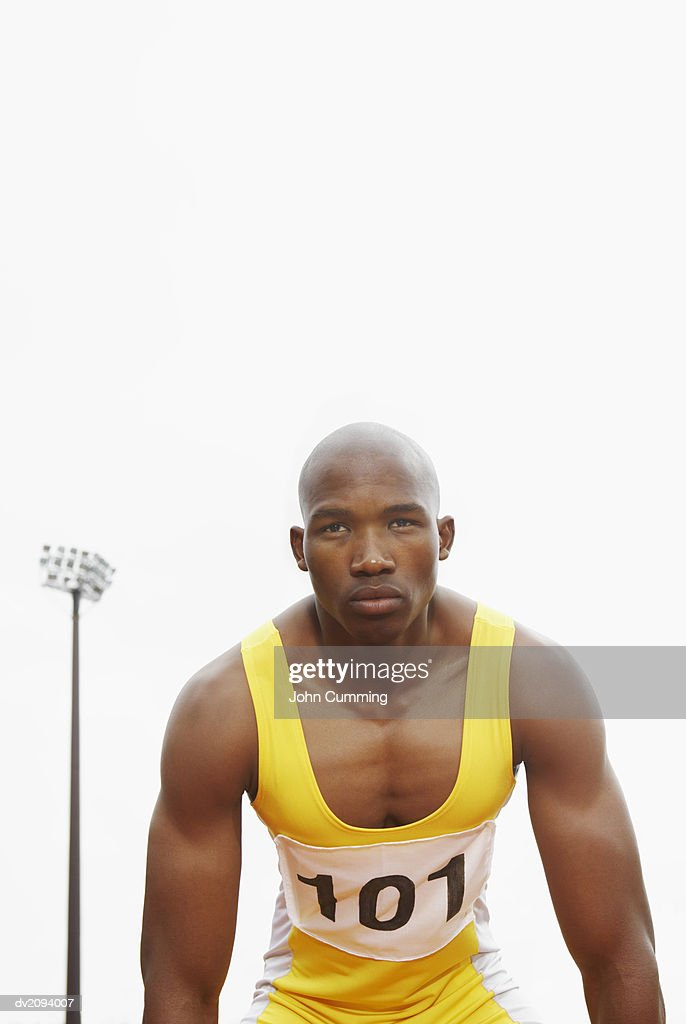 Athlete Looking Ahead : Stock Photo
