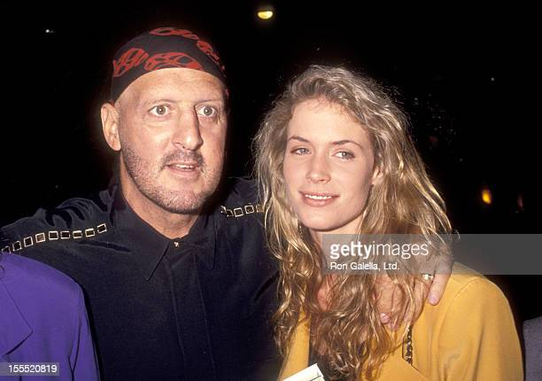 Athlete Lyle Alzado and wife Kathy Davis on July 23 1991 dine at Spago in West Hollywood California