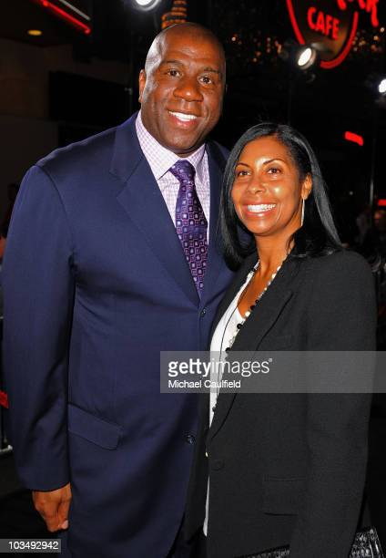 Athlete Magic Johnson and Cookie Johnson arrive at The Book Of Eli premiere held at Grauman's Chinese Theatre on January 11 2010 in Hollywood...