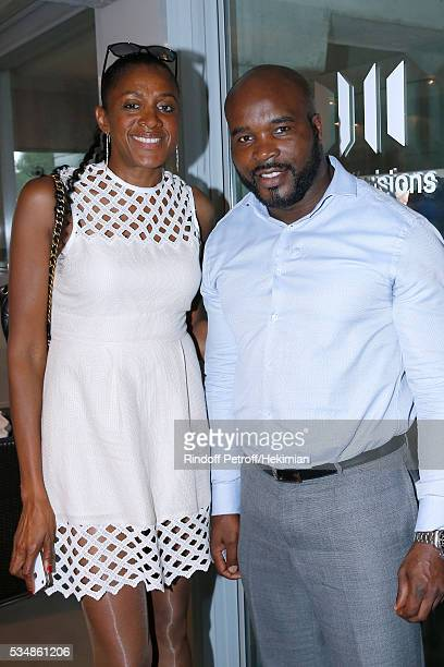 Athlete MarieJose Perec and Boxer JeanMarc Mormeck attend the 'France Television' Lunch during Day Seven of the 2016 French Tennis Open at Roland...