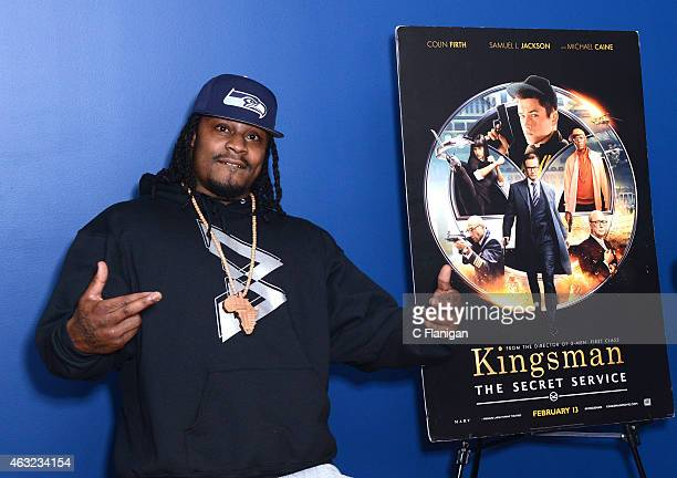 Athlete Marshawn Lynch attends the special San Francisco screening of Kingsman The Secret Service at AMC Metreon 16 on February 11 2015 in San...