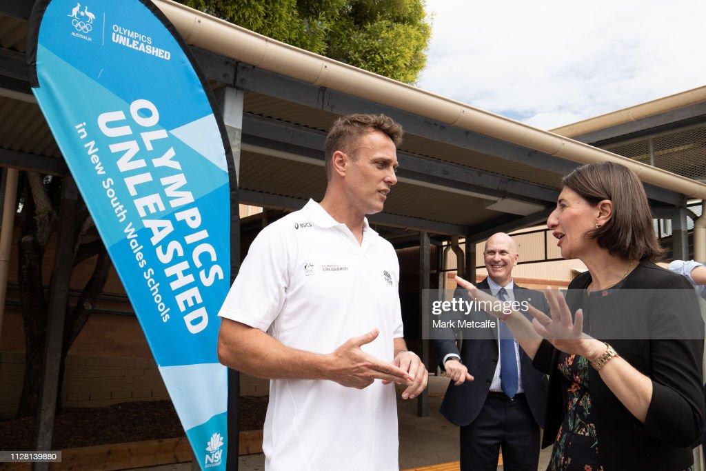 Athlete Matt Shirvington talks to NSW Premier Gladys Berejiklian